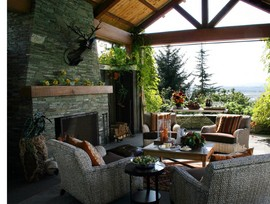 暖炉,テラス,屋外家具,リビング